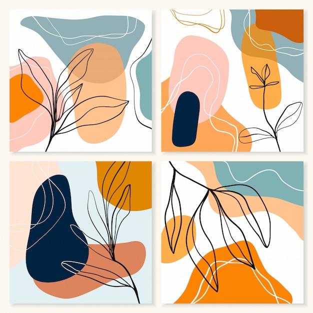 Coleção de fundos abstratos com quatro obras de arte diferentes em tons pastel, formas de doodle, design moderno