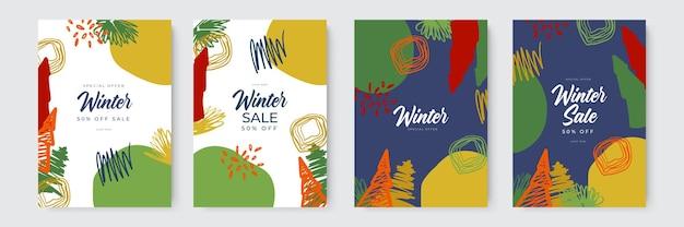 Coleção de fundos abstratos de cartão projeta conteúdo promocional de mídia social de venda de inverno com org ...