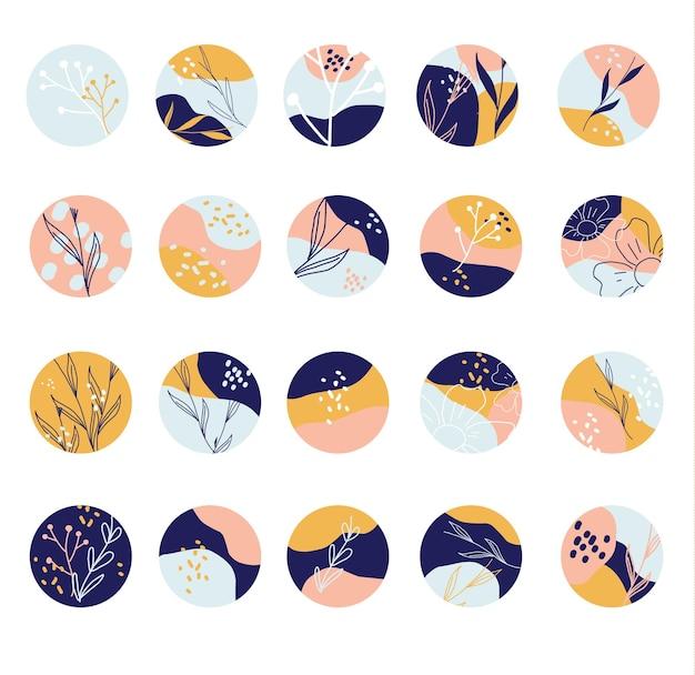 Coleção de fundos abstratos redondos com formas desenhadas à mão, folhas, manchas. ícones modernos do círculo. elementos da moda para redes sociais, adesivos