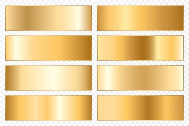 Coleção de fundos com gradiente metálico. placas brilhantes com efeito dourado.