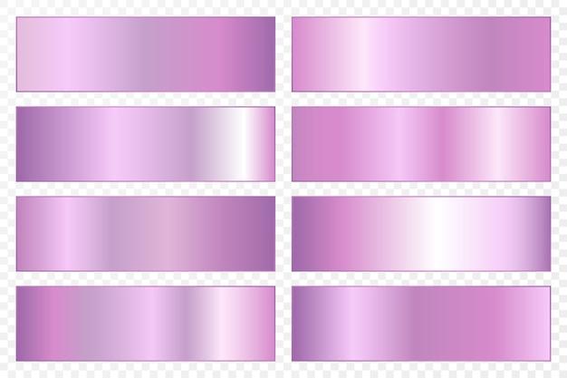 Coleção de fundos com gradiente metálico. placas brilhantes com efeito ultravioleta.