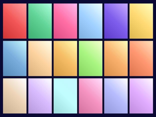 Coleção de fundos gradiente de cor pastel abstrata