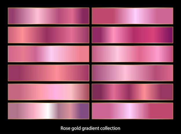 Coleção de fundos gradiente ouro rosa.