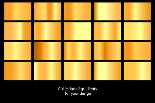 Coleção de fundos gradientes ouro. conjunto de texturas metálicas douradas. ilustração vetorial