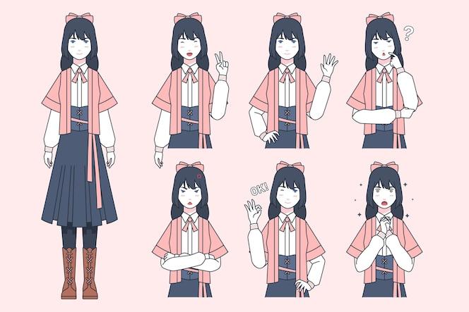 Coleção de garota com emoções diferentes no estilo mangá