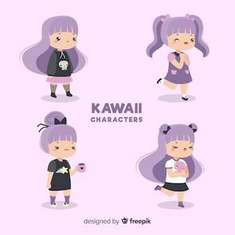 Coleção de garota desenhada mão kawaii