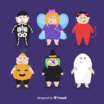 Coleção de garoto de halloween design plano