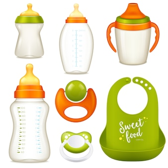 Coleção de garrafas de bebê de enfermagem
