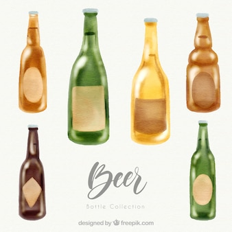 Coleção de garrafas de cerveja aquarela
