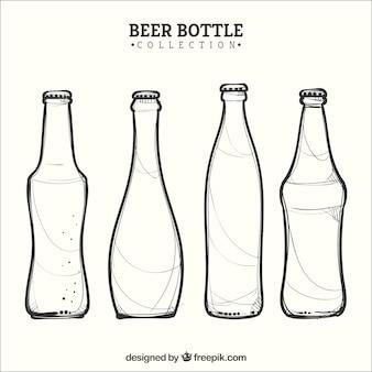 Coleção de garrafas de cerveja desenhadas a mão