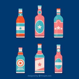 Coleção de garrafas de cerveja plana com rótulo