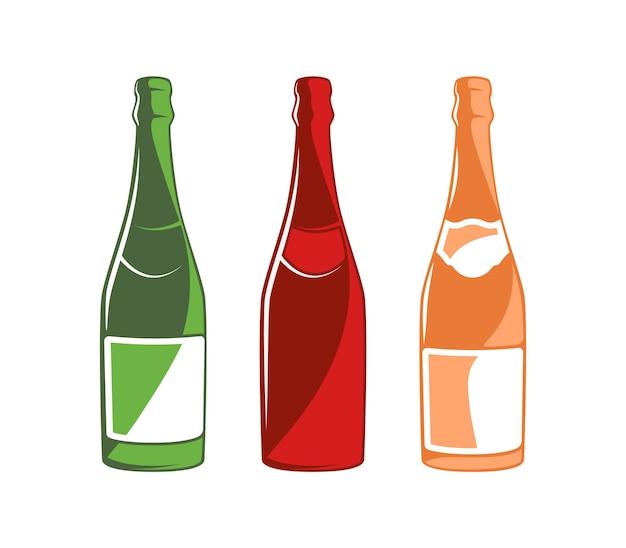 Coleção de garrafas de champanhe isolada no fundo branco