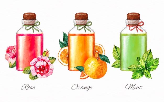 Coleção de garrafas de óleo essencial de aquarela