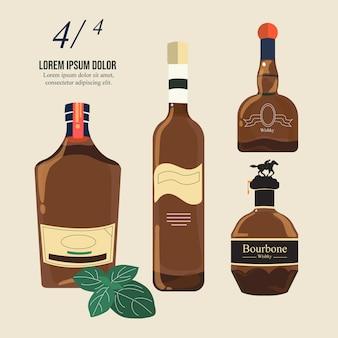 Coleção de garrafas de uísque bourbon