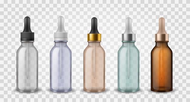 Coleção de garrafas de vidro com conta-gotas