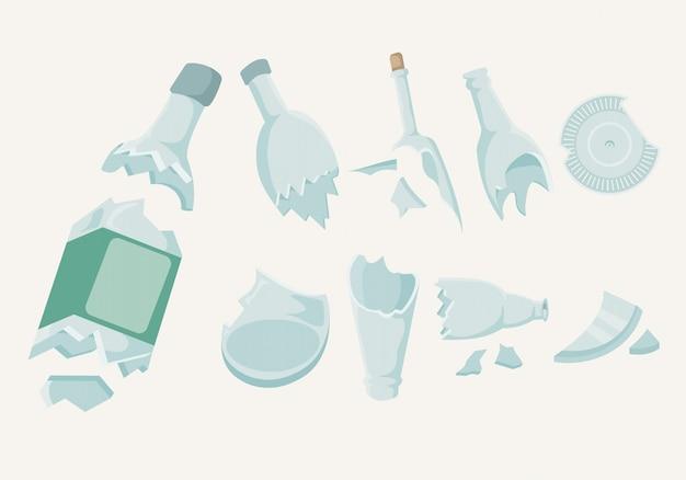 Coleção de garrafas quebradas