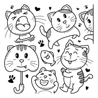 Coleção de gato bonito doodle ilustração de personagem