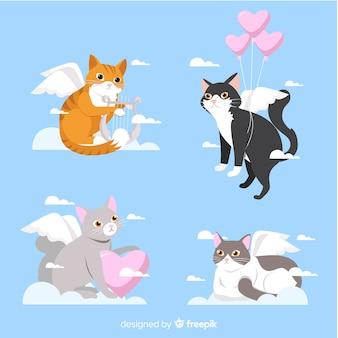 Coleção de gato cupido dos namorados