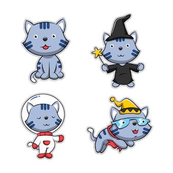 Coleção de gato de desenho animado