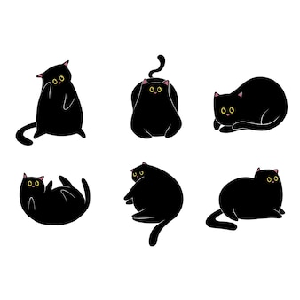 Coleção de gato preto desenhada à mão