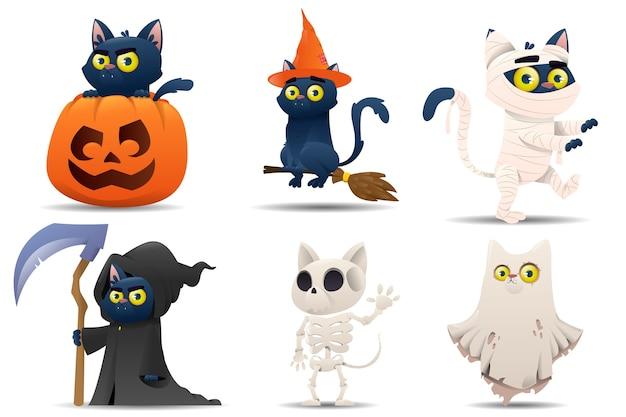 Coleção de gatos com personagens de halloween