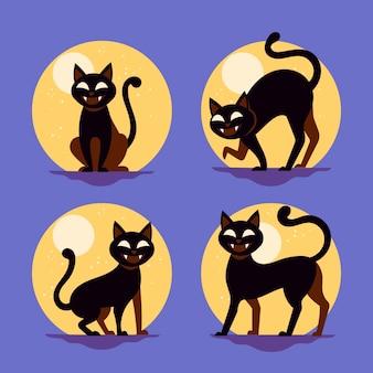 Coleção de gatos de halloween de design plano
