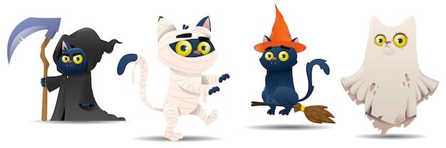 Coleção de gatos de halloween