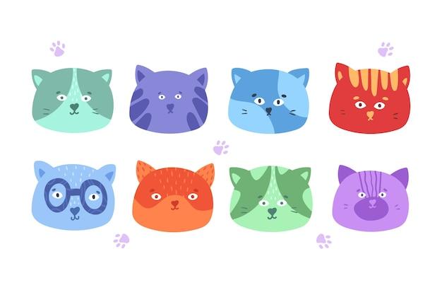 Coleção de gatos diferentes em estilo cartoon.