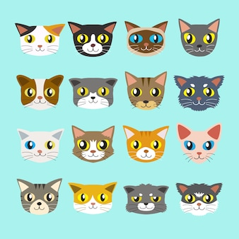 Coleção de gatos dos desenhos animados
