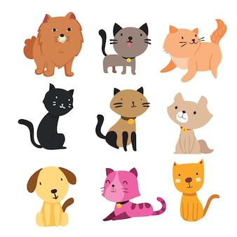 Coleção de gatos e cães