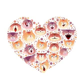Coleção de gatos em forma de coração.