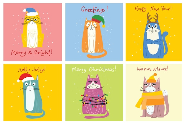 Coleção de gatos, ilustrações de feliz natal de gatos fofos