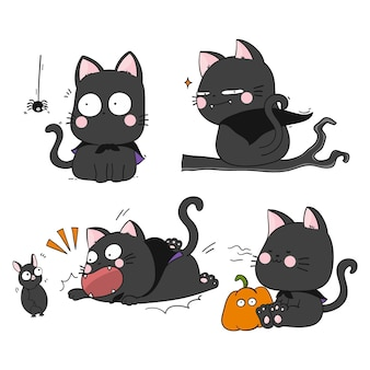 Coleção de gatos pretos do dia das bruxas desenhada à mão