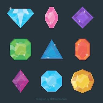Coleção de gemas coloridas e diamantes