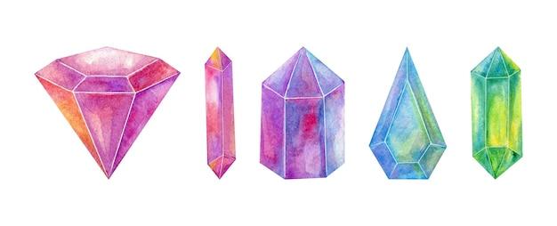 Coleção de gemas de cristal em aquarela