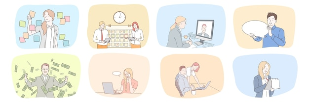 Coleção de gerentes de funcionários de mulheres de negócios trabalham juntos na estratégia de planejamento de escritório falando online.