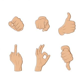 Coleção de gesto com a mão