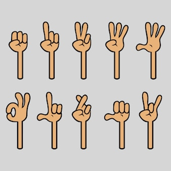 Coleção de gestos com quatro dedos