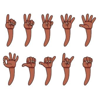 Coleção de gestos de desenho de mão de pele de cor marrom