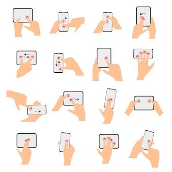 Coleção de gestos de mão com tela de toque