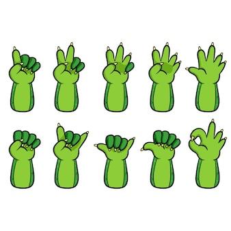 Coleção de gestos de mão de desenho de lagarto