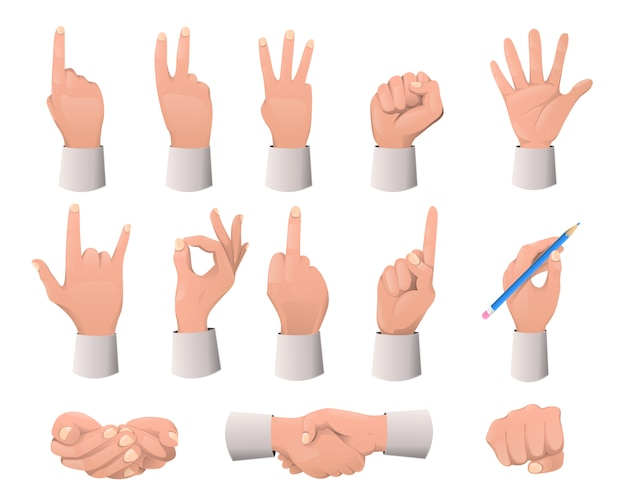 Coleção de gestos de mão. vários gestos