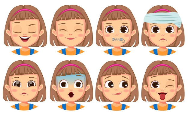 Coleção de gestos faciais de garota fofa