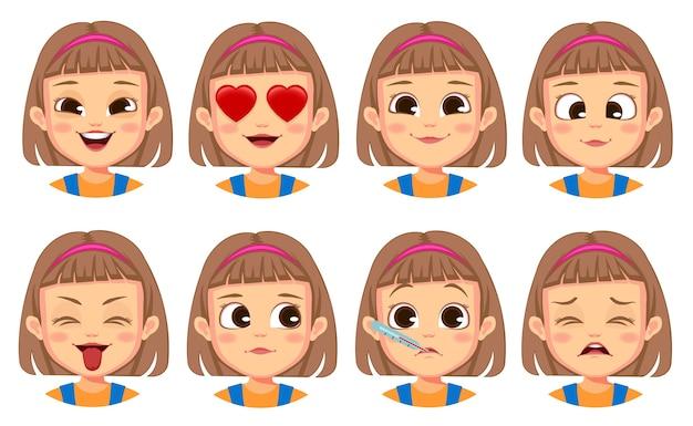 Coleção de gestos faciais de menina