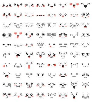 Coleção de giro adorável kawaii olhos e bocas.