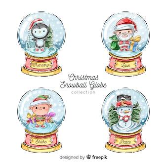 Coleção de globo de bola de neve de natal