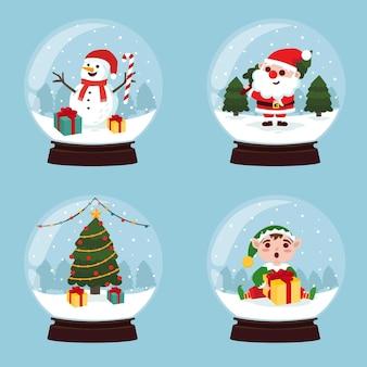 Coleção de globos de neve de natal