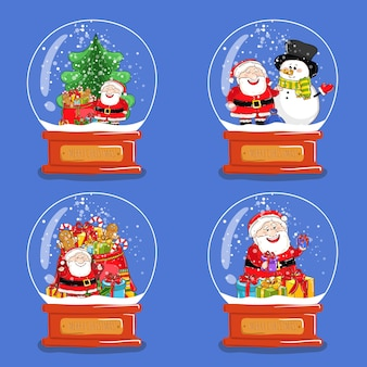 Coleção de globos de neve de vidro de natal
