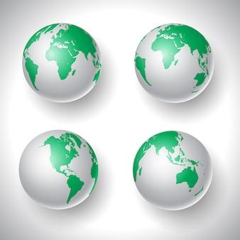 Coleção de globos do mundo