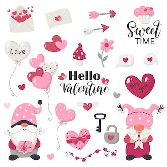 Coleção de gnomos e itens do dia dos namorados. ilustração para cartões, convites de natal e camisetas